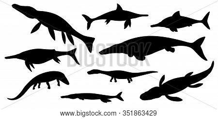 Sea Dinosaur Black Silhouettes Of Vector Jurassic Animals Or Monsters. Prehistoric Marine Dinosaurs