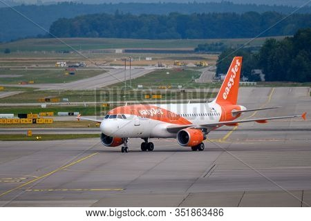 Zurich, Switzerland - July 19, 2018: EasyJet Airline Company airplane preparing for take-off. EasyJet Airline Company Limited is a British low-cost carrier airline headquartered at London Luton