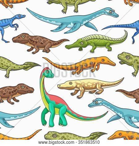 Dinosaurs Seamless Pattern Of Cartoon Jurassic Animals Vector Background. Prehistoric Dino Monsters