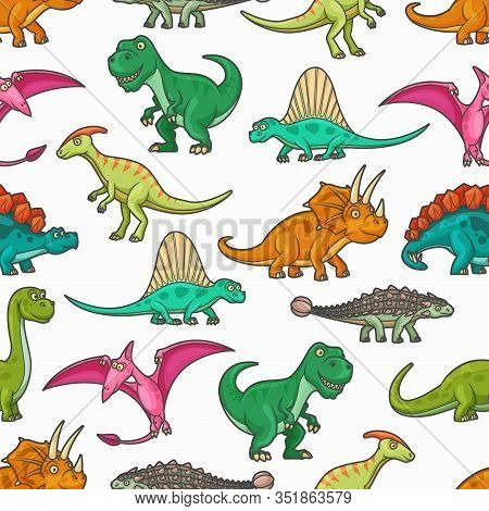 Dinosaur Jurassic Animals Seamless Pattern. Vector Background With Tyrannosaurus, Pterodactyl, Bront