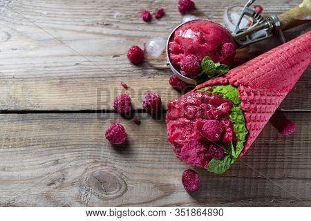 Raspberry Sorbet, Ice Cream On A Wooden Background. Vintage Ice Cream Spoon. Copy Space.