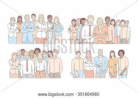 Set Of Businesspeoples Teams Concept. Collection Of Business People, Young Businessmen And Women Col