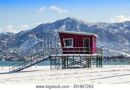 Live Savers Box In The Beach At Snowy Promenade In Batumi