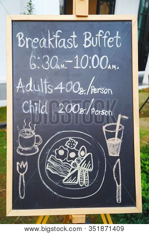 Blackboard Menu With Food, Frame Of Menu With Texts And Sketch Coffee, Bakery, Smoothie, Spaghetti,