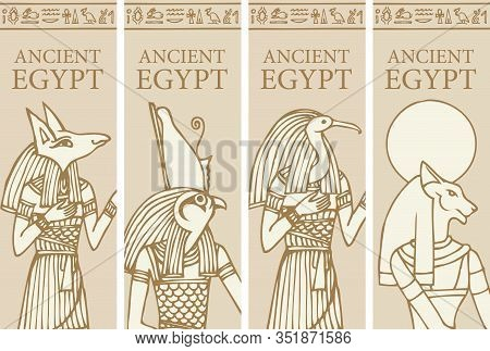Set Of Vector Banners With Egyptian Gods - Horus, Thoth, Anubis, Goddess Bastet. Advertising Posters
