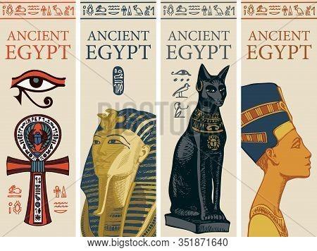 Set Of Vector Travel Posters With Colored Images Of Coptic Cross, Tutankhamun, Bastet And Nefertiti.