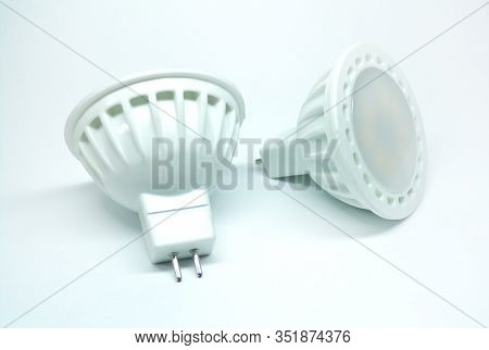 Led Lights On A White Background. Lamps Isolated On A White Background. Diode Lamps For The Interior