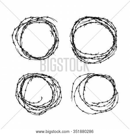 Set Of Different Hanks Of Barbed Wire, Black Silhouettes On White