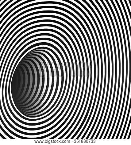 Black And White Vector Illustration Abstract Dark Hole