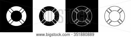 Set Lifebuoy Icon Isolated On Black And White Background. Life Saving Floating Lifebuoy For Beach, R