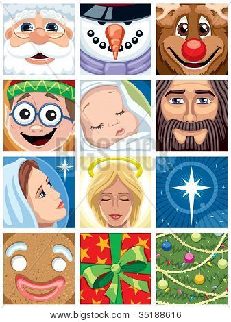 Set of 12 Christmas avatars. No transparency and gradients used. poster