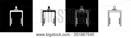 Set Metal Detector In Airport Icon Isolated On Black And White Background. Airport Security Guard On