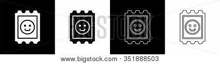 Set Lsd Acid Mark Icon Isolated On Black And White Background. Acid Narcotic. Postmark. Postage Stam