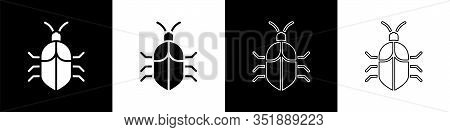 Set System Bug Concept Icon Isolated On Black And White Background. Code Bug Concept. Bug In The Sys