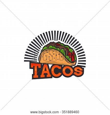 Tacos Logo Vector Illustration. Hot Dog Sausage Silhouette, Good For Restaurant Menu And Cafe Badge.
