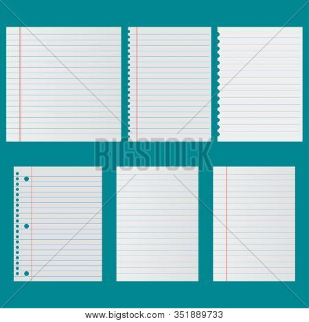 Notebook Paper Set Vector Icon Isolated. Vector Illustration