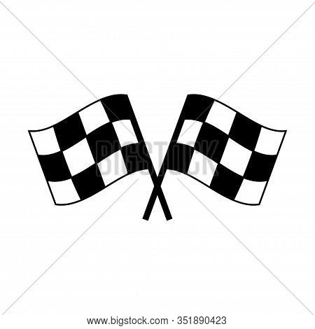 Two Crossed Auto Racing Flag Icon. Finish Checkered Flag Isolated On White Background