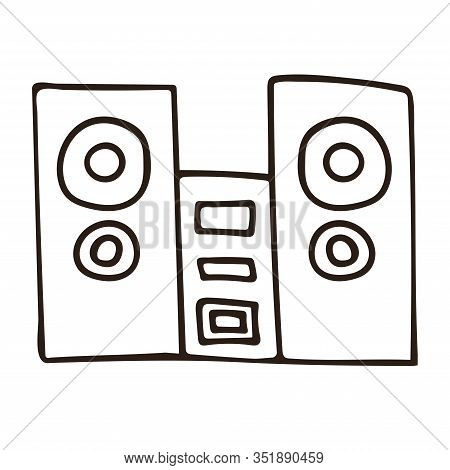 Speakers With Subwoofer. Music System. White Background Isolated Outline Stock Vector Illustration
