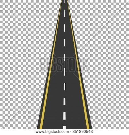 Straight Road With White Markings, Vector Illustration