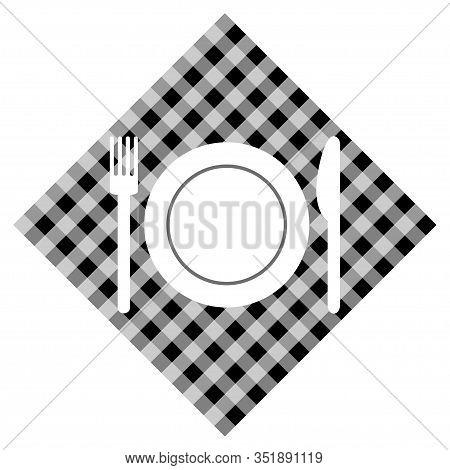Knife And Forkon Checked Cloth Vector Illustration
