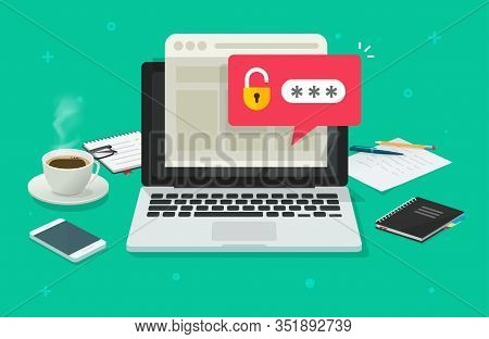 Laptop Computer With Password Notification And Lock Icon Vector Flat Cartoon, Concept Of Online Secu