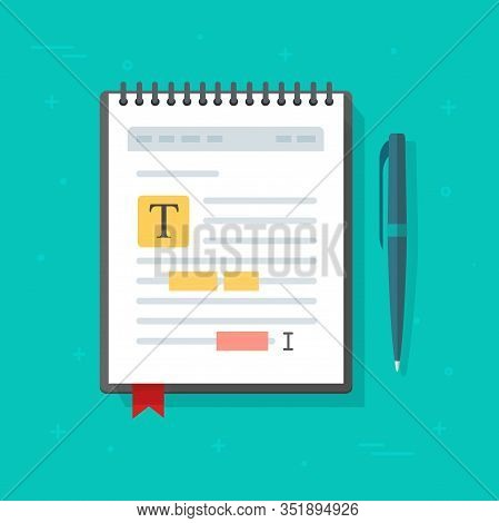 Electronic Note Pad Or Note Book With Text File Content Editing Vector Icon, Flat Cartoon Creating O