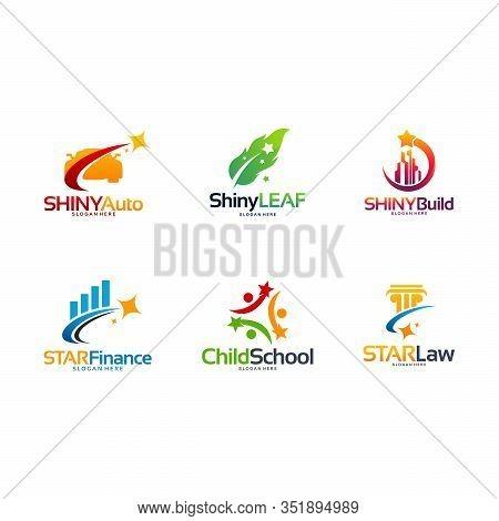 Shiny Automotive Logo, Shiny Leaf Symbol, Shiny Building Logo, Star Finance, Child School, Star Law