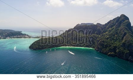Aerial Panorama Top View Tropical Island , Aerial View Of Phi-phi Islands, Krabi, Thailand.