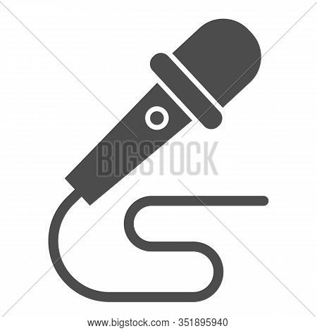 Microphone And Wire Solid Icon. Party Mike With Cable. Birthday And Anniversary Entertainment Vector