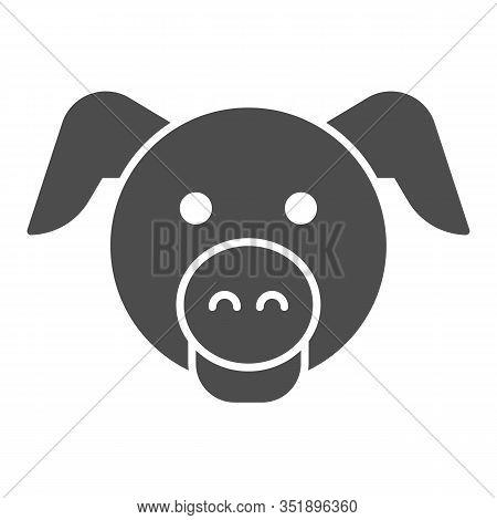 Pig Head Solid Icon. Minimal Pig Face Symbol, Domestic Farm Hog. Animals Vector Design Concept, Glyp