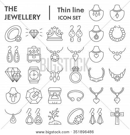 Jewellery Thin Line Icon Set, Accessories Symbols Collection, Vector Sketches, Logo Illustrations, B