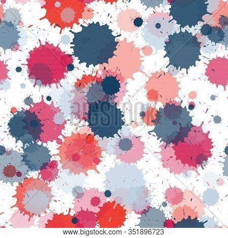 Watercolor Paint Transparent Stains Vector Seamless Wallpaper Pattern. Mottled Ink Splatter, Spray B
