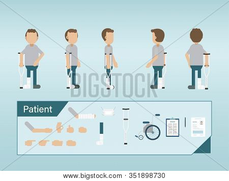 Set Of Patient Characters With Splint And Crutch Vector Illustration