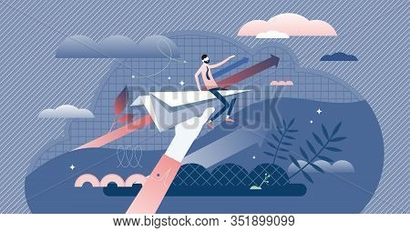 Business Vision Direction Concept, Flat Tiny Businessman Person Vector Illustration. Startup Success