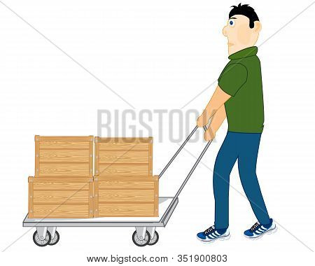Cartoon Men Worker Carrying Boxes On Pushcart