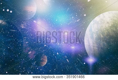 Star Field And Nebula In Deep Space Many Light Years Far From Planet Earth. Elements Of This Image F