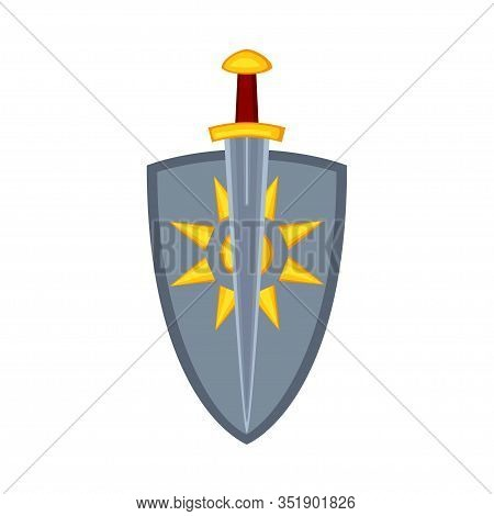 Cartoon Metal Sword Shield. Medieval Festival Props. Fairy Tale Theme Vector Illustration For Icon,