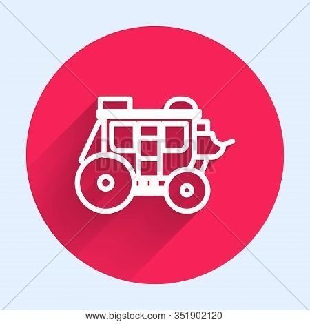White Line Western Stagecoach Icon Isolated With Long Shadow. Red Circle Button. Vector Illustration