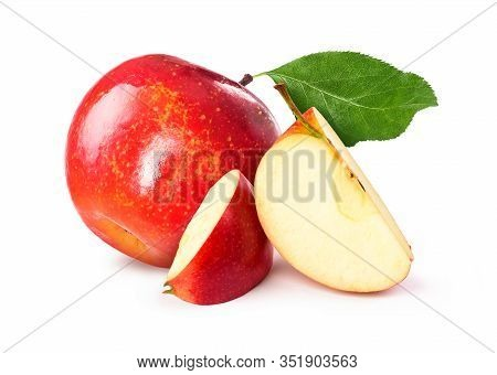 Red Chopped Apple With Leaf On A White Background