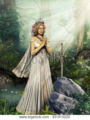 The Enchantress Lady Of The Lake Is Praying To The Sword Excalibur, Illustration Inspired By The Leg