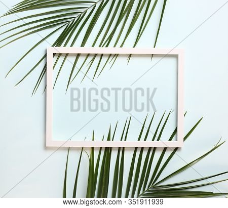 Nature Composition  Made Of Palm Leaves On Pastel Blue Background , Copy Space , Top View