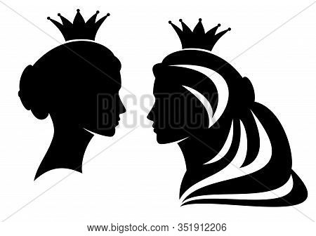 Fairy Tale Medieval Queen Or Princess Profile Head Silhouette - Beautiful Royal Female Black Vector