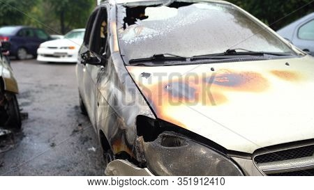 Vandalism Or Revenge, Burnt Car. The Consequences Of Popular Protest, Burnt Car, A Crime. Car After