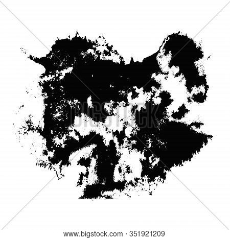 Abstract Expressive Texture Of Black Ink Or Watercolor Stain With Little Dots And Drops. Mysterious