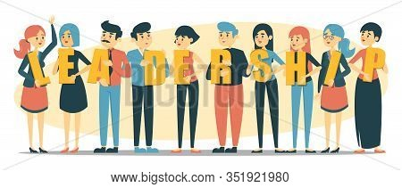 People Holding Letters Of The Word Leadership Vector Isolated