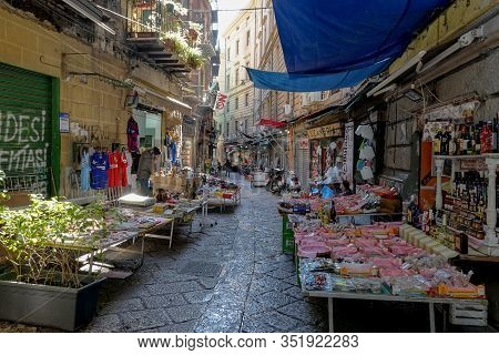 Palermo, Sicily - February 8, 2020: The Flea And Traditional Market At Discesa Maccheronai Street In