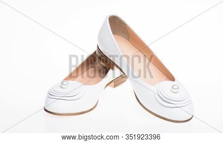 Shoes Made Out Of White Leather On White Background, Isolated. Minimalism Concept. Pair Of Fashionab