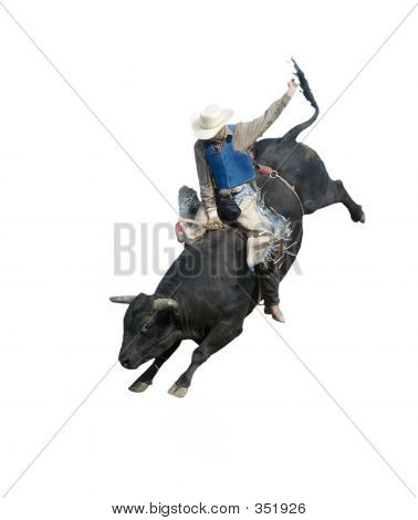bull riding at the herbert rodeo, clipping path included poster