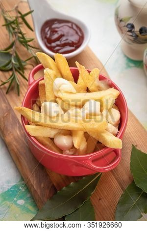 Canadian poutine, fried potato chips with cheese and gravy or sauce