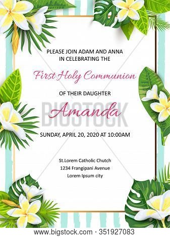 Invitation With Jungle Leaves, Tropical Flower Plumeria. Vector Illustration Summer Template. Place